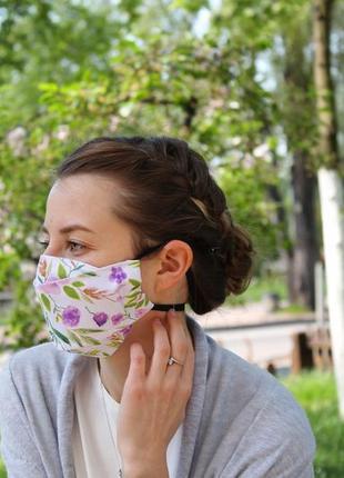 Маска для лица - цветы, многоразовые трёхслойные маски с кармашком для фильтров