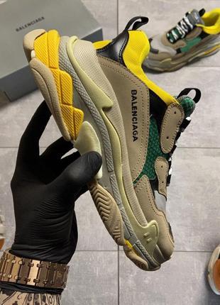 👟кроссовки женские balenciaga triple s beige yellow green.👟