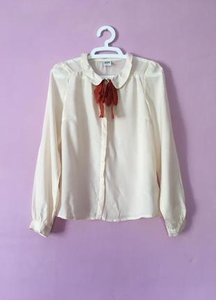Стильная рубашка блуза с бантом кремовая бежевая длинный рукав