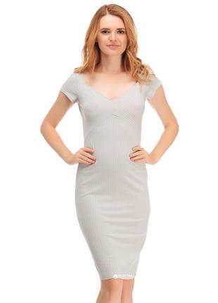 Стильное серое в обтяжку платье миди zara s-m