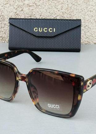 Gucci очки женские солнцезащитные большие коричневые тигровые с градиентом