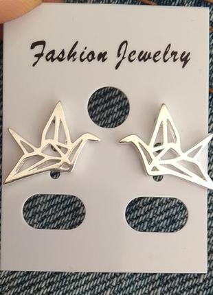 Сережки серебряные птички оригами, серьги, кульчики