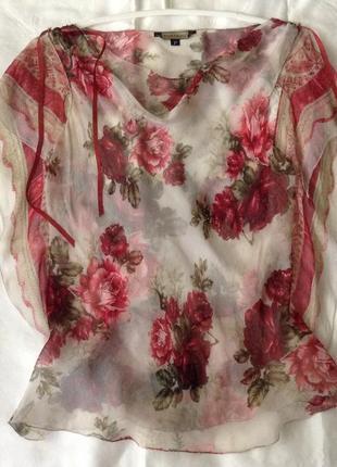 Роскошная дизайнерская шелковая блуза-вуаль. пионы винтажные.