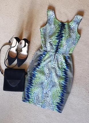 Ефектне незвичайне літнє  плаття - футляр глибоке декольте сітка завищена талія2 фото