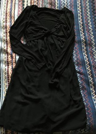 Платье tom taylor черное с шифоновой юбкой с-м