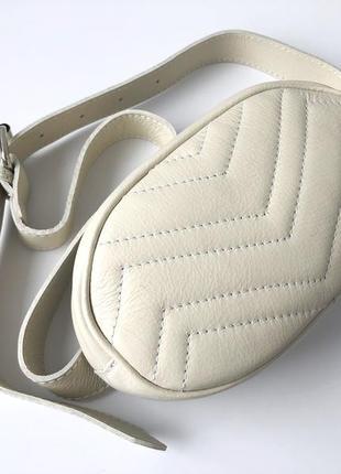 Поясная сумка 29374 натуральная кожа /италия/ молочная