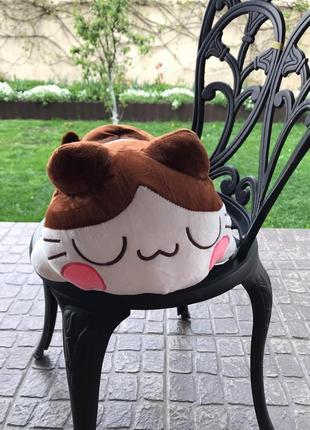 Кот спящий игрушка подушка плед