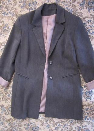 Серый пиджак, жакет классика, пиджак бойфренд, удлиненный жакет, офисный жакет