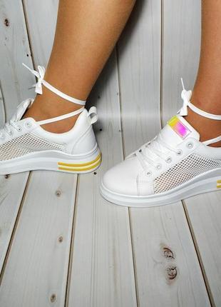 Красивые удобные женские кроссовки,кеды белого цвета, см. замеры в описании