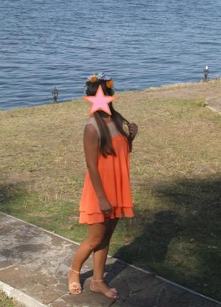 Легкое шифоновое расклешенное платье сарафан