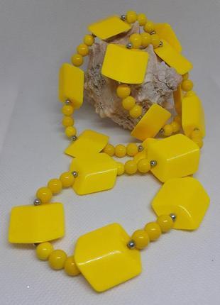 Бусы чехословакия смальты стекло пластик крупные желтые