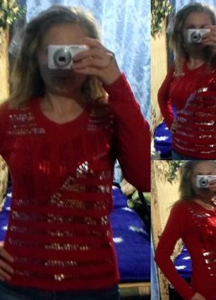 Красный джемпер с пайетками, пуловер (кофта), р. 44-48
