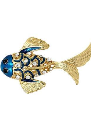 Новая брошь золотая рыбка