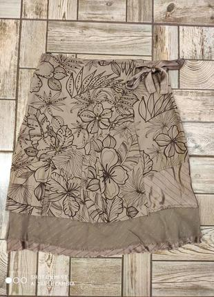 Юбка коричневая миди в цветок