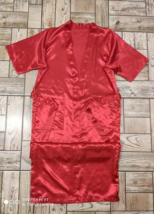 Атласный красный халат в пол