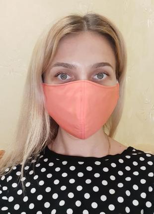 Маска в три слоя защитная тканевая для лица