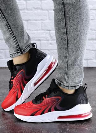 Кроссовки женские красные / черные текстиль / сетка air max