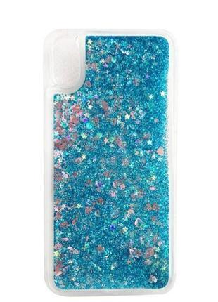 Чехол glitter для xiaomi redmi 7a бампер жидкий блеск аквариум синий