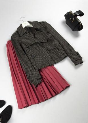 Трендовый шерстяной жакет пиджак в гусиную лапку / шерстяная куртка zara s m
