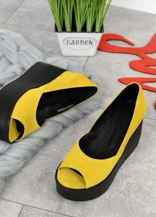 Туфли на платформе открытые пальчики из натуральной замши