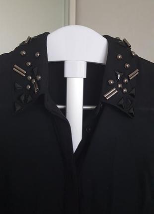 Forever 21 черная шифоновая блуза с воротничком расшитым бисером, размер xs-s