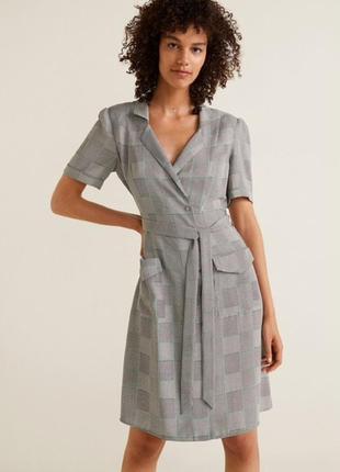 Летнее офисное платье в клетку mango candela dress