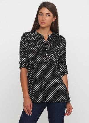 Блуза - рубашка с рукавом 3/4 в горошек