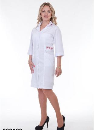 Белый халат медицинский, коттон, р.42, 44, 46, 56; женская медицинская одежда,893123