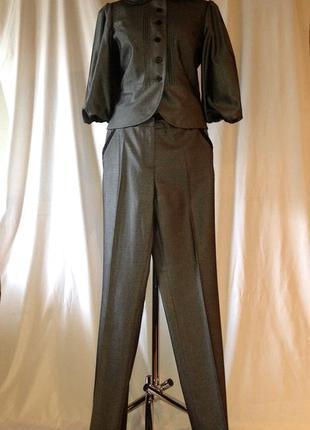 Пиджак + зауженные брюки костюм офисный серый monica ricci