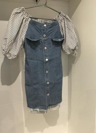 Платье с джинсовым передом