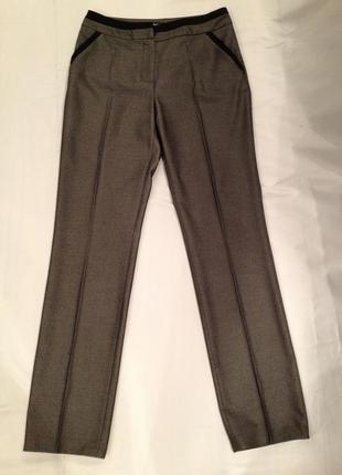 Зауженные брюки + пиджак костюм офисный серый на шелковой подкладке monica ricci