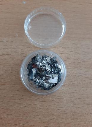 Слюда для дизайна ногтей,  серебро