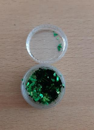 Слюда для дизайна ногтей,  зеленый