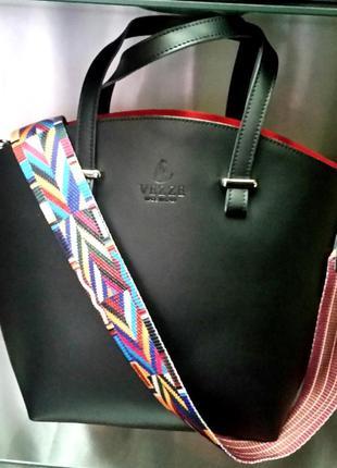 Кожаная итальянская сумка vezze с модным ярким ремнем