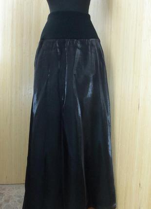 Струящаяся атласная чёрная длинная юбка с трикотажным поясом s-l в пол