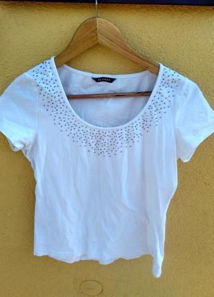 Біла футболка майка з бісером planet s 95% cotton 5% elastane