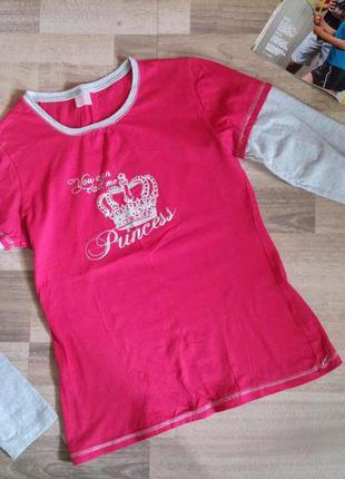 Кофта рожева розова з написом princess з довгим сірим рукавом s