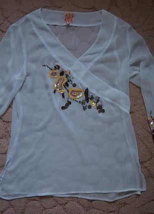 Легкая блуза yes miss м вышивка, пайетки