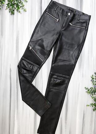 Zara черные кожзам штаны