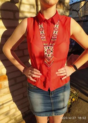 Шифоновая прозрачная красная блуза блузка