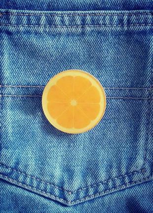 Значок апельсин, брошь, брошка