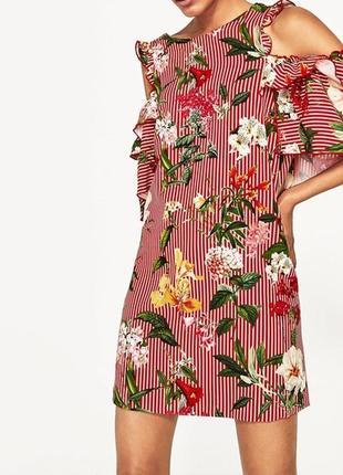 Платье с воланами в цветы zara