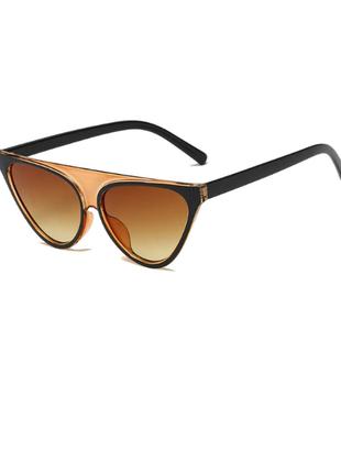 Стильные оригинальные очки чёрно-коричневые+фото на лице