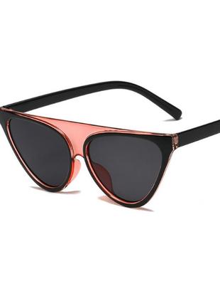 Стильные оригинальные очки чёрно-розовые+фото на лице