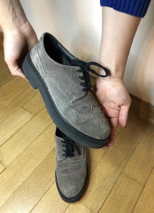 Замшевые туфли оксфорды selesta