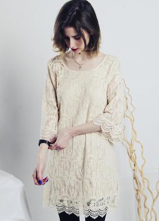 Кружевное бежевое платье, летнее платье