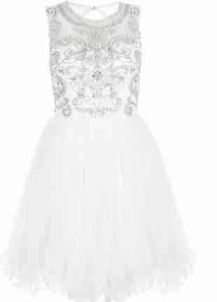 Свадебное вечернее нарядное короткое платье-пачка с камешками