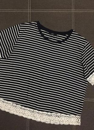 Летняя блуза топ футболка в полоску с кружевом ☘️