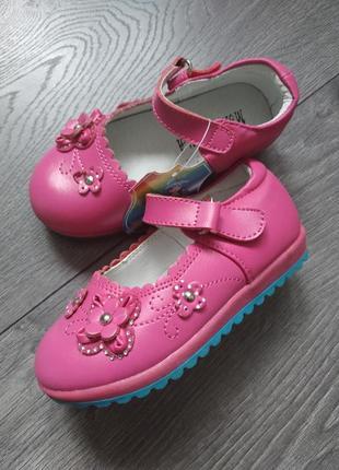 Кожаные туфли для девочек, р. 22 - 24