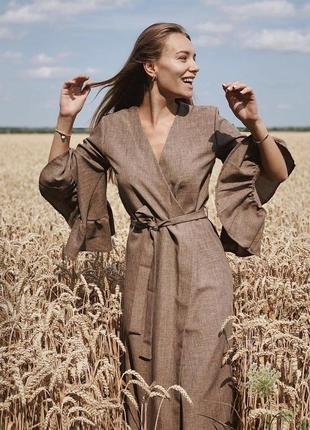 Льняное платье кардиган бежевое, коричневое на запах